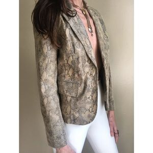 Vintage leather python blazer